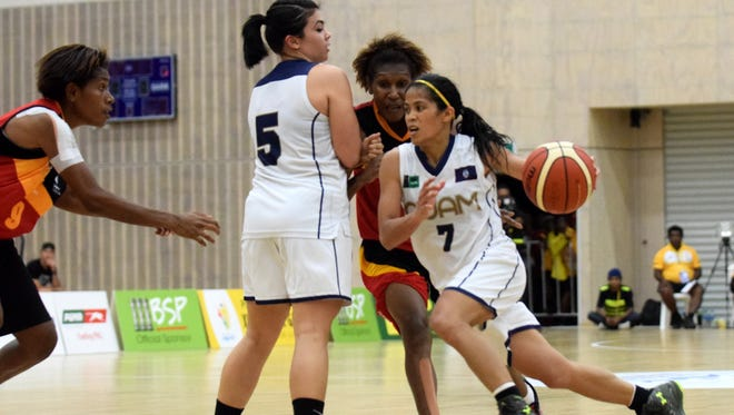 Guam and Papua New Guinea battled in women's basketball at the 2015 Pacific Games in Port Moresby, Papua New Guinea.