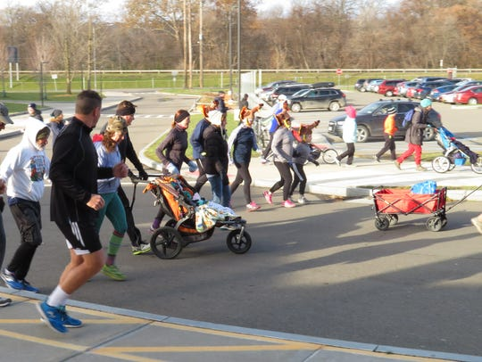 People ran, walked and jogged during the Turkey Trot.