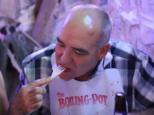 Tim Murphy dines with his wife Maria Murphy at The Boiling Pot in Rockport.