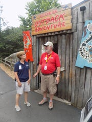 Melissa Pletcher, Detroit Zoo assistant manager of volunteer services, chats with Dave Moore of Shelby Township, a volunteer at the Australian Outback exhibit.