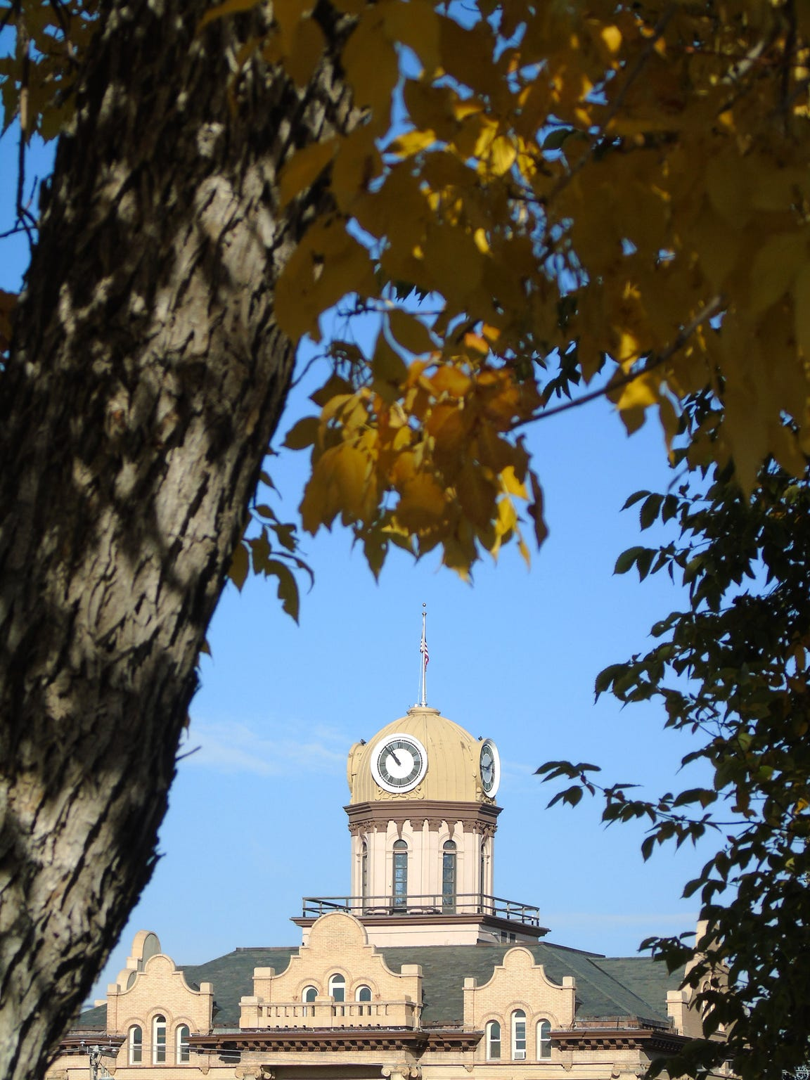 Fergus County Courthouse in Lewistown with fall colors