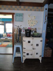 Michelle Losing's historic icebox is repurposed as a coffee bar.