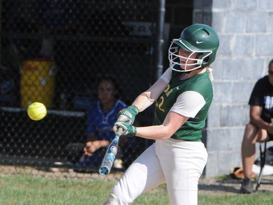 Roosevelt's Maddy Lee hits during Thursday's semifinal against Middletown. Roosevelt will face Kingston for the Section 9 Class AA title Saturday.