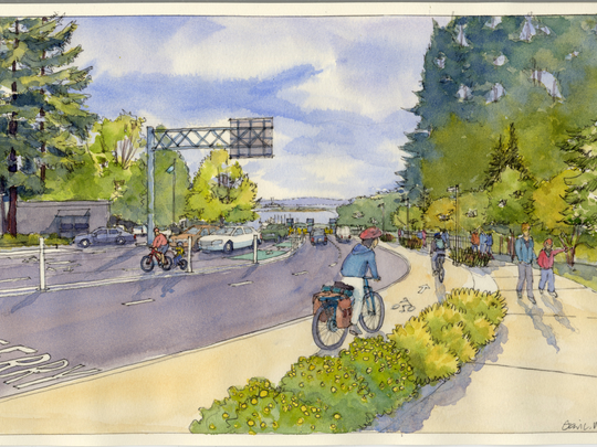 An view of what the Olympic Drive pedestrian/cyclist improvements will look like when completed.