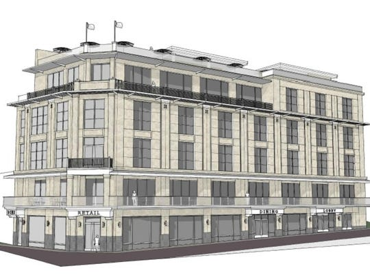A rendering of the proposed five story mixed-use building planned for the corner of Falls Park Drive and South Main Street in downtown Greenville.