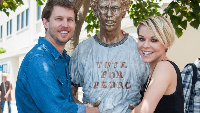 "CENTURY CITY, CA - JUNE 09:  Actors Jon Heder (L) and Tina Majorino attends the Fox Searchlight Pictures & Twentieth Century Fox Home Entertainment Celebrates ""Napoleon Dynamite"" 10th Anniversary With Statue Dedication at Fox Studio Lot on June 9, 2014 in Century City, California.  (Photo by Valerie Macon/Getty Images)"