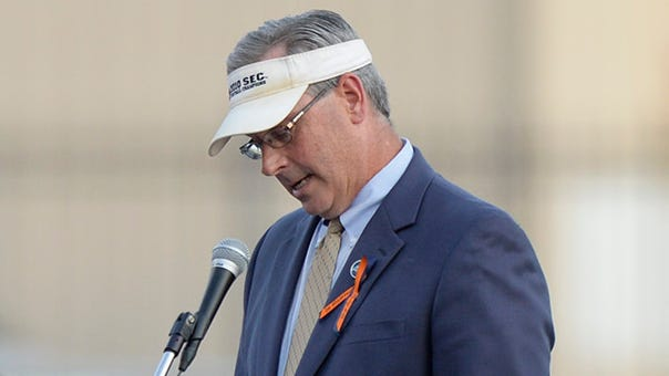 Mike Lutzenkirchen, Philip's father, will emcee Thursday's Auburn FCA 50th anniversary celebration in place of his son.