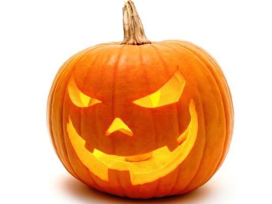 Halloween pumpkin with evil grin