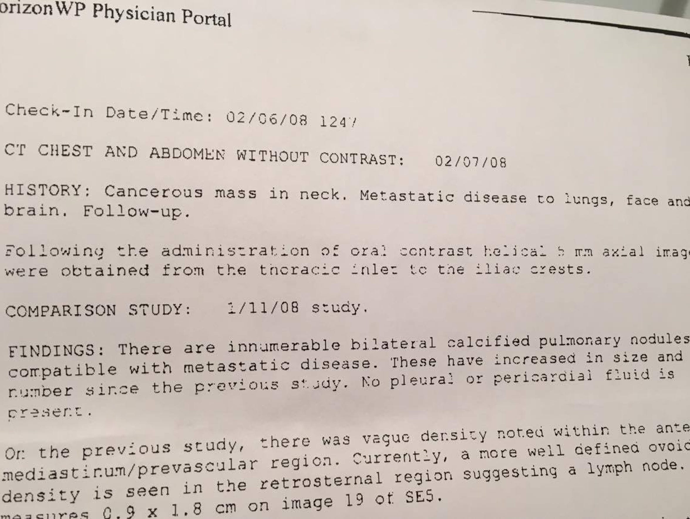 """This is a physician's report finding """"innumerable"""""""