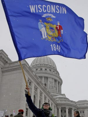 Someone flies Wisconsin's flag, which is not a great flag.