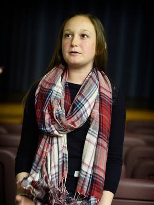 Gabby Williams, an eighth grade student at Cedar Crest Middle School, talks after a May 4, 2016, assembly on bullying about how quickly a rumor can spread in school.