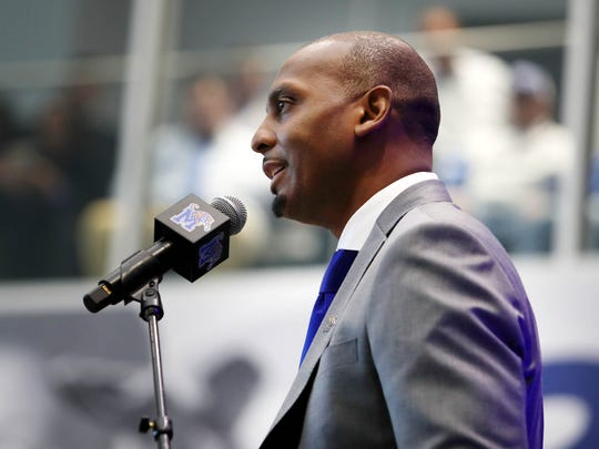 Penny Hardaway addresses fans and school officials during a news conference at the the University of Memphis to announce the former Tigers star as its new men's basketball coach at the Laurie-Walton Family Basketball Center.