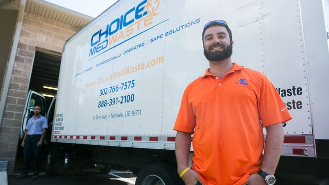 Matt Georgov (right) is Choice MedWaste's vice president of sales and operations. At left is driver Bruce Blackwell.