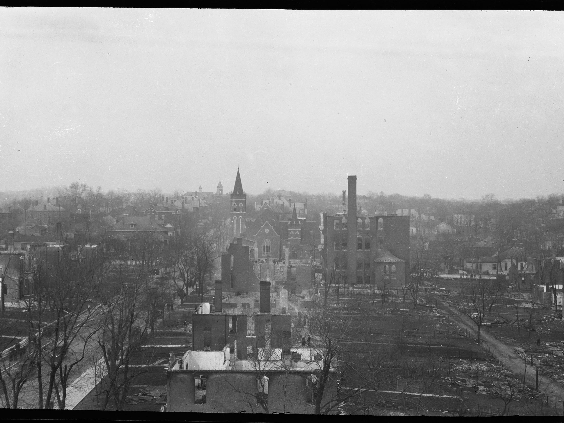 Damage to Warner School and other areas around the school can be seen looking east toward the corner of Seventh and Russell streets after the East Nashville fire of March 22, 1916