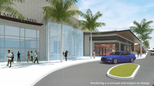 A rendering shows a possible new design for the La Palmera mall's food court entrance.