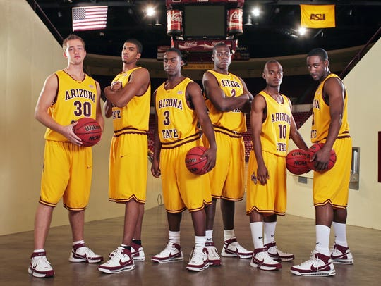 James Harden poses with other ASU newcomers on Oct.