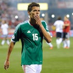 Mexico defender Hector Moreno (15) walks off the field after a 2-0 loss to the United States at Columbus Crew Stadium.