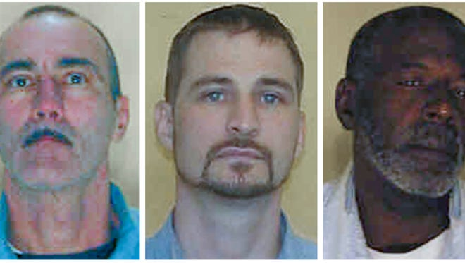 This combination of booking photos provided by the Ohio Department of Rehabilitation and Correction shows: Adam Taylor, left, Joel David Hamlin, center, and William Coffman. The Columbus Police Department recruited the inmates with the help of the state prisons agency to produce an educational YouTube video for the public in which the offenders shared their how-to tips on how to prevent burglaries.