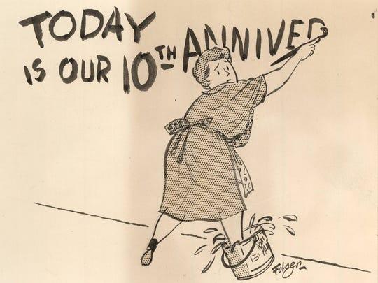 Franklin Folger made this original cartoon for the