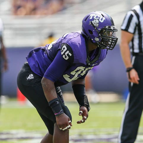 TCU Horned Frogs defensive end Devonte Fields (95) plays defense during the game against the Southeastern Louisiana Lions at Amon G. Carter Stadium.