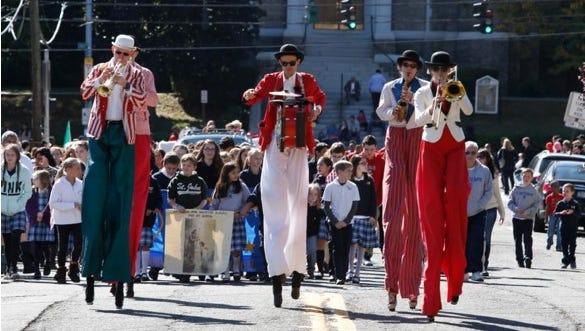 Marchers make their way along Seminary Avenue in the annual Yonkers Columbus Day Parade on Oct. 5, 2014.