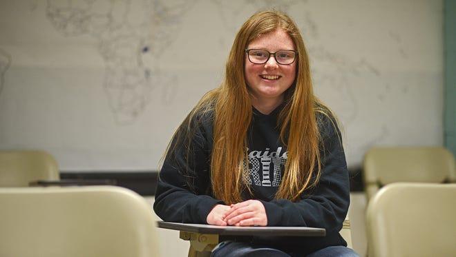 Rutland High School senior Mary Nold poses for a portrait Thursday, March 23, 2017, at the Rutland School in Rutland, S.D.