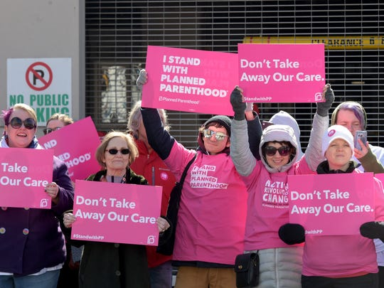 Planned Parenthood supporters demonstrate at Municipal Auditorium in Nashville before a Donald Trump rally in 2017. The organization has stopped offering abortion services at its Nashville clinic, the last abortion provider in the city.
