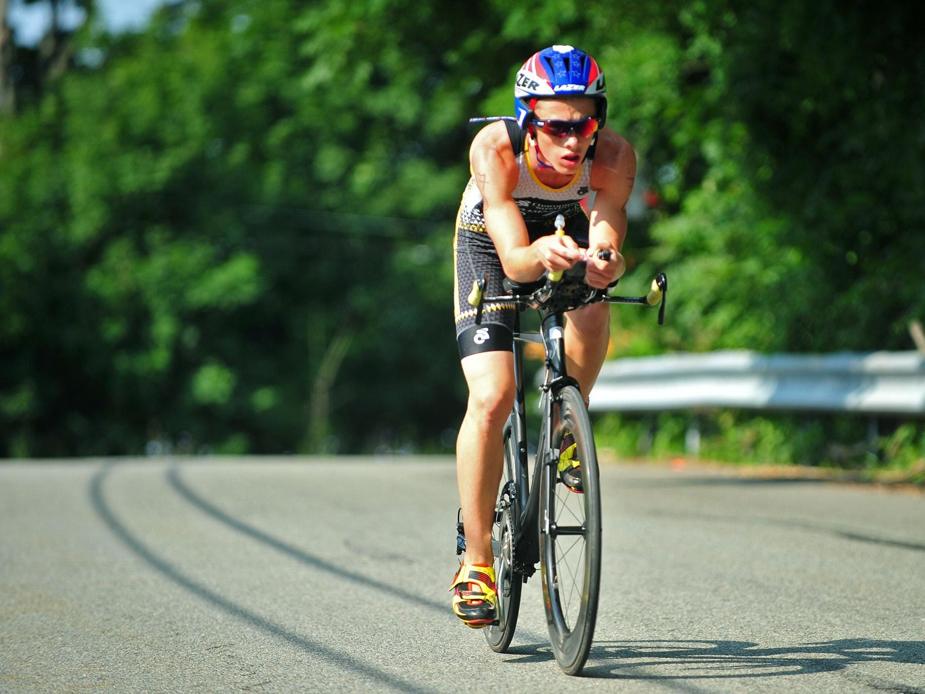 Bobby Hammond, 16, of Flanders, took first place. Here, he comes in first on the cycling leg.