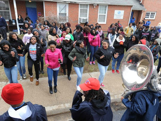 The Delaware State University Marching Band performs at the Greater Boys and Girls Club in Dover.