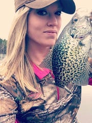 Farrar Poleman shoing off her white perch catch