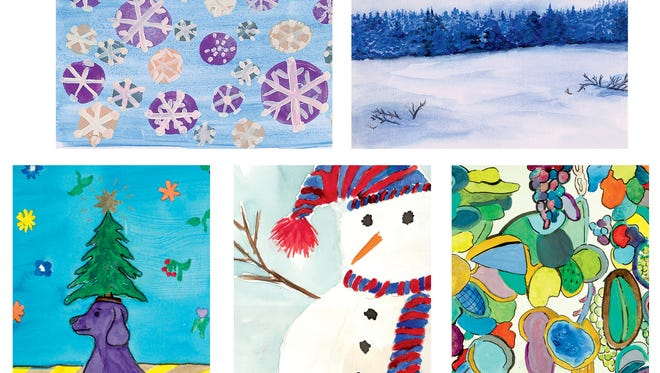 "Five artworks created by MILL students adorn cards being sold to benefit the instructional nonprofit. They are: 'Suddenly Snowflakes' by Barbara Rudy of Montclair, 'Winter Landscape' by Elizabeth ""Beth"" Pugh of Bloomfield, 'Shapely Shapes' by Del Turgelsky of Verona, 'All Bundled Up'  by Andrea Bruno of Verona, and 'Purple Woof Dog' by Rikke Beal of Montclair."