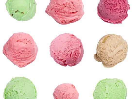 Scoops of ice cream