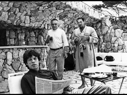 Mick Jagger, left, Dennis Hopper and Julian Schnabel, Antibes, 1991