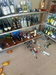 Liquor bottles knocked from their shelves at On the Rocks Liquor Store in Lincoln, Montana during Thursday morning's 5.8 magnitude earth quake.  Owner Dawn Kirby says she lost about 20 bottles of liquor in the quake. Photo Courtesy of Dawn Kirby