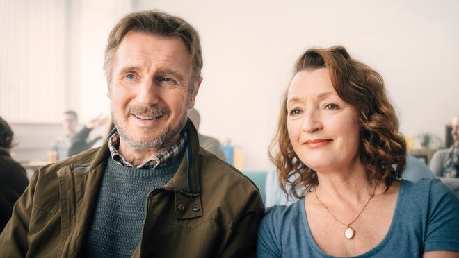 "Liam Neeson (left) and Lesley Manville (right) star in directors Lisa Barros D'Sa and Glenn Layburn's ""Ordinary Love."""