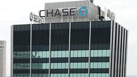 Chase has signage at the top of the office tower at 100 East Broad Street Downtown. The bank has a branch on the ground floor of the building.