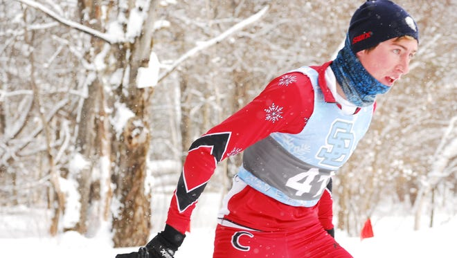 Champlain Valley Union High School's Noah Allen competes during the Feb. 7 continuous pursuit race at Sleepy Hollow.