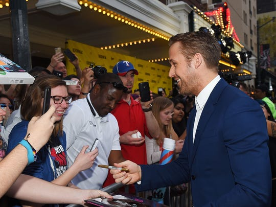 """Ryan Gosling greets fans at the """"Song to Song"""" premiere on March 10, 2017, in Austin."""