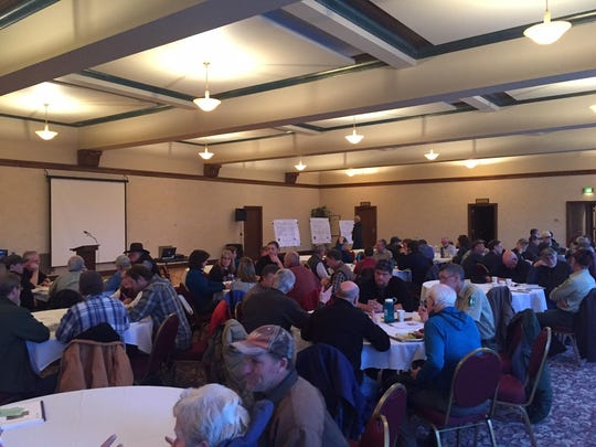 A meeting on a revised forest plan for Helena-Lewis and Clark National Forest drew about 70 people to the Great Falls Civic Center on Tuesday.