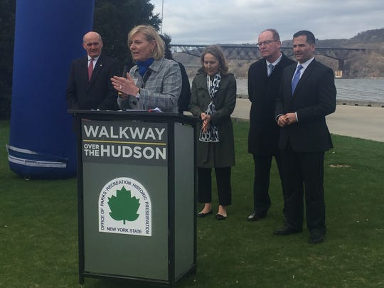 Walkway Over the Hudson Historic State Park Executive Director Elizabeth Waldstein-Hart discussed the changes of this year's Walkway Marathon at Marist College Wednesday morning.