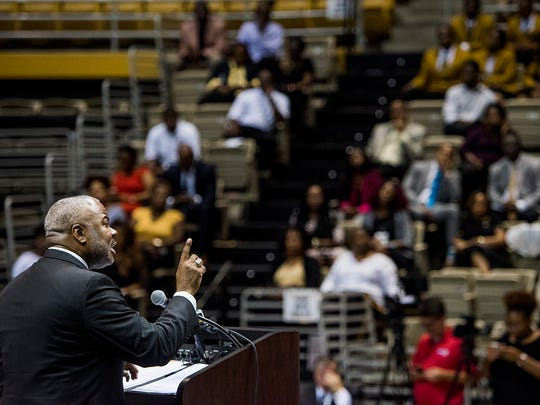 New Alabama State University President Elect Quinton Ross speaks during the Fall Convocation in the Acadome on the ASU campus in Montgomery, Ala. on Tuesday October 2, 2017.