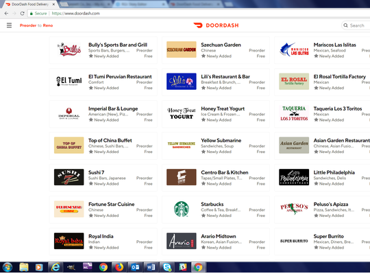 Company logos appear on the Door Dash online restaurant