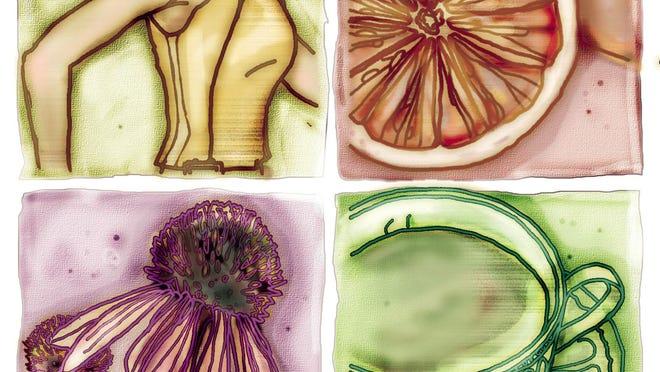 Illustration of healthy alternatives to medication, exercise, grapefruit, fruit, citrus, coneflower, tea, holistic medicine by Sten Miller