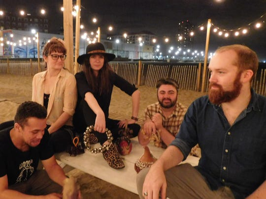 Lowlight on the beach at The Anchor's Bend in Asbury Park. From left: bassist Rey Rivera of Highland Park, keyboardist Dana Sellers of South Bound Brook, singer-songwriter-guitarist Renee Maskin of Bradley Beach by way of Metuchen, drummer Colin Ryan of Point Pleasant by way of Metuchen and guitarist-engineer Derril Sellers of South Bound Brook.