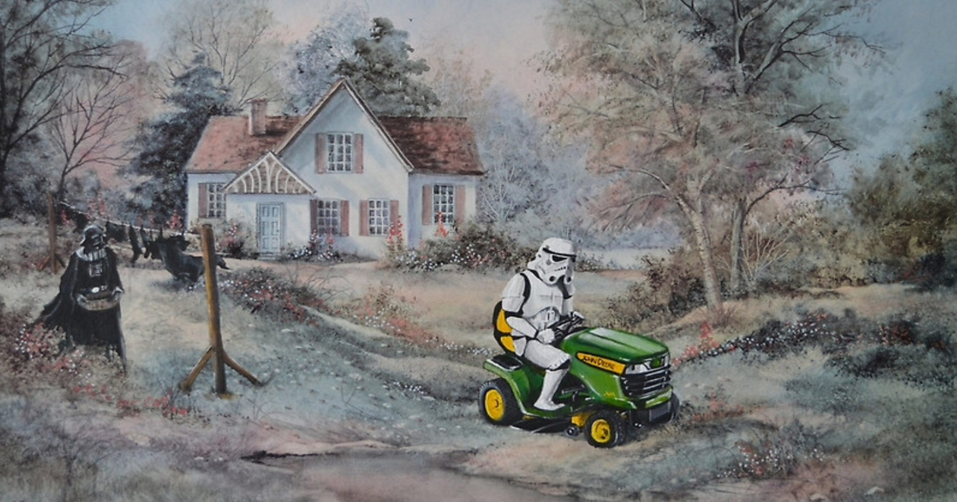 Artist adds Darth Vader, Spock to thrift shop paintings