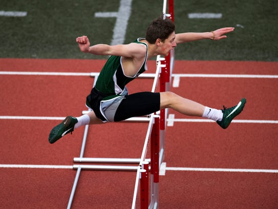 North's David Heyna competes in the 300 meter high