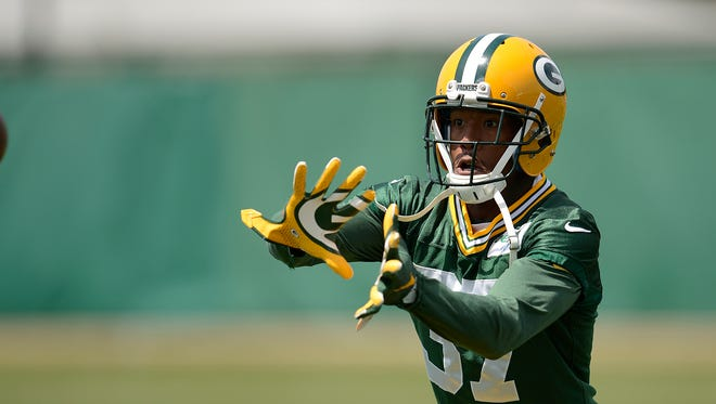 Green Bay Packers cornerback Sam Shields (37) runs drills during organized team activities June 2 at Clarke Hinkle Field.