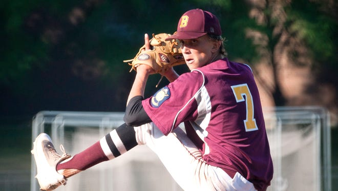 Brattleboro starting pitcher Leif Bigelow winds up for a pitch in Wednesday's American Legion baseball state championship game at Castleton University.