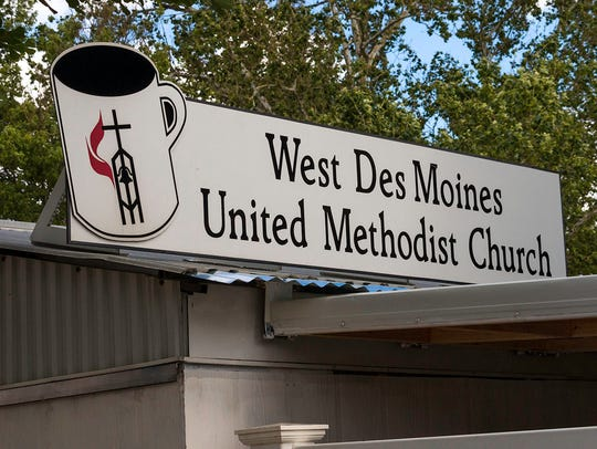 The sign on top of the West Des Moines Methodist Church