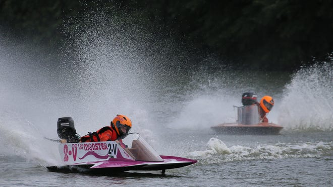 Shelby Bowsher, 12, races in a youth class in her 2-V Lil' Monster boat at last year's Shake The Lake at Menominee Park.